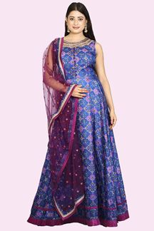 Picture of Elegant Purple Colored Patola Printed Silk Anarkali Suit