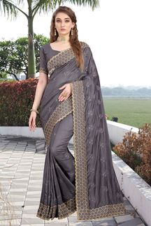 Picture of Exclusive Two Tone Vichitra Silk Designer Grey Colored Saree