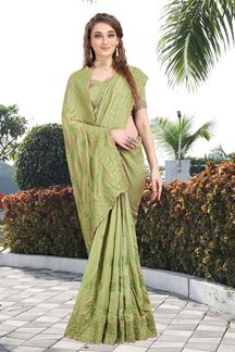Picture of Majesty Two Tone Vichitra Silk Designer Green Colored Saree
