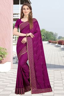 Picture of Exceptional Two Tone Vichitra Silk Designer Magneta Colored Saree