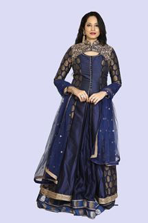 Picture of Energetic Navy Blue Colored Gown With Long Jacket