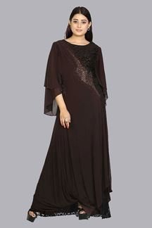 Picture of Excellent Brown Colored Georgette Gown