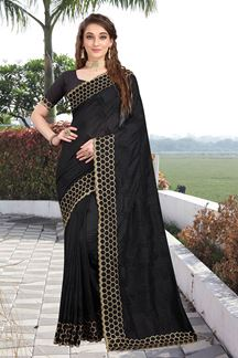 Picture of Intricate Two Tone Vichitra Silk Designer Black Colored Saree