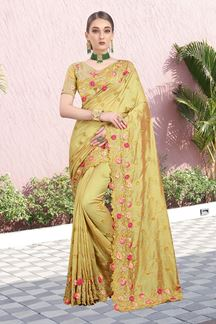 Picture of Demanding Yellow Colored Color Two Tone Vichitra Silk Saree