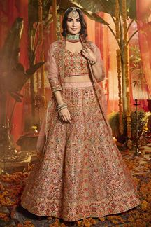 Picture of Charming Peach Colored Wedding Wear Organza Lehenga Choli