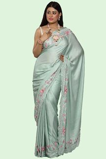 Picture of Appealing Sea Green Colored Partywear Satin Saree