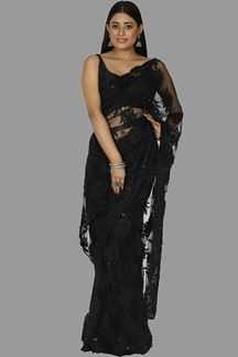 Picture of Arresting Black Colored Partywear Net Saree