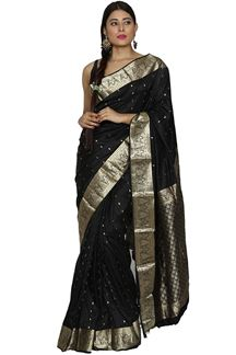 Picture of Attractive Black Color Kanjivaram  Silk Saree