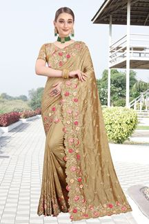 Picture of Enthralling Brown Colored Color Two Tone Vichitra Silk Saree