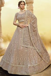 Picture of Light Brown Colored Embroider Georgette Designer Lehenga Choli