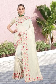 Picture of Appealing Cream Color Two Tone Vichitra Silk Saree