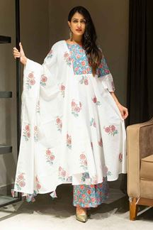Picture of White Colored Cotton Palazzo Suit