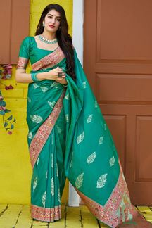 Picture of Bold Green Colored Designer Saree