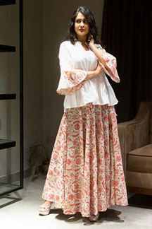Picture of Red & White Colored printed Cotton Suit With Skirt
