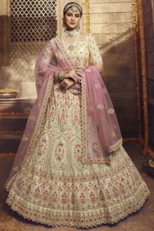 Picture of Best Cream Colored Organza Designer Lehenga Choli