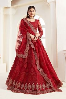 Picture of Red Colored Designer Bridal Wedding Wear Lehenga Choli