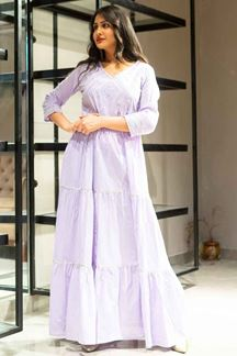 Picture of Purple Colored Cotton Floor Length Suit