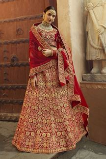 Picture of Bride-To-Be Red Color Velvet Designer Lehenga Choli