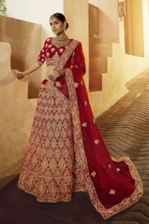 Picture of luxurious Red Color Velvet Designer Lehenga Choli