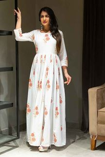 Picture of White Colored Floral Hand Block Printed Floor Length Suit