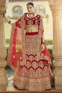 Picture of Red Color Velvet Designer Lehenga Choli