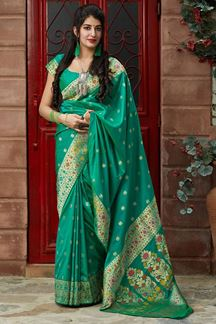 Picture of Glowy Green  Colored Designer Saree