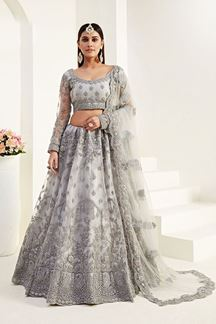 Picture of Grey Colored Designer Bridal Wedding Wear Lehenga Choli