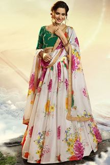 Picture of Floral Print Organza Designer White & Green Colored Lehenga Choli