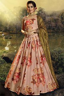 Picture of Floral Print Organza Designer Peach Colored Lehenga Choli