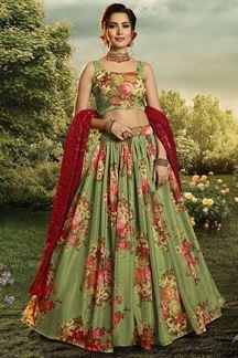 Picture of Floral Print Organza Designer Green Colored Lehenga Choli