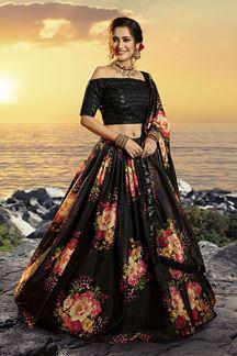Picture of Floral Print Organza Designer Black Colored Lehenga Choli