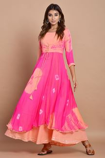 Picture of Pink Colored Nazneen Chiffon & Cotton Tie Dye Kurti