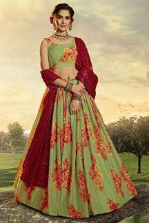 Picture of Green Colored Floral Print Organza Designer Lehenga Choli