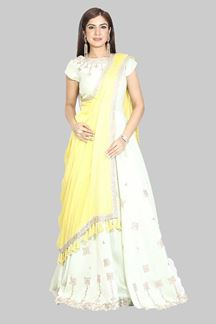 Picture of Impressive Blue & Yellow Colored Partywear Raw Silk Gown