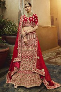 Picture of Gorgeous-Looking Red Color Velvet Bridal Lehenga Choli