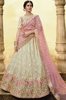 Picture of Embroidered White Colored Georgette Lehenga Choli