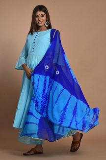 Picture of Blue Colored Hand Tie And Dye Palazzo Suit