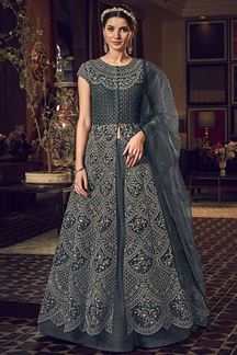 Picture of Grey Colored Partywear Embroidered Netted lehenga Style Suit (Unstitched suit)