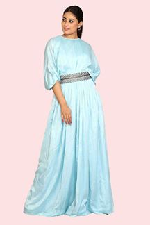 Picture of Sky Blue Colored Designer Gown With fancy Belt