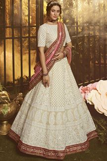 Picture of Stylist White Color Embroidery Georgette Lehenga Choli
