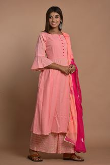 Picture of Peach Colored Hand Tie And Dye Palazzo Suit