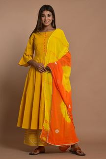 Picture of Yellow Colored Hand Tie And Dye Palazzo Suit