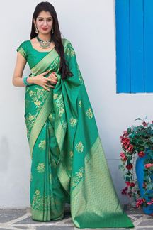 Picture of Royal Green Colored Designer Saree