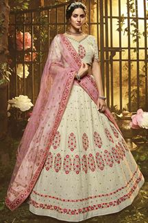 Picture of Best White Colored Embroidery  Designer Lehenga Choli
