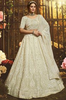 Picture of Exotic White Colored Georgette Lehenga Choli