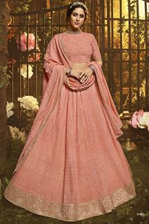 Picture of Pleasance Georgette Embroidered Peach Designer Lehenga Choli