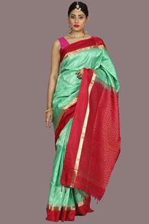 Picture of Flaunt Sea Green Colored Banglore Silk Saree