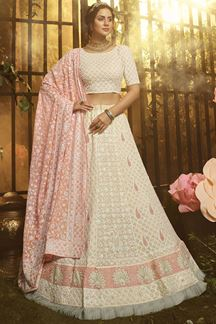 Picture of Elegant Off-White Colored Embroider Georgette Lehenga Choli
