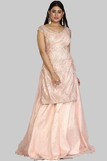 Picture of Glorious Peach Colored Party Wear Net Lehenga Kameez