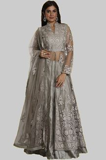Picture of Hypnotic Grey Colored Partywear Raw-Silk Netted Lehenga Choli.